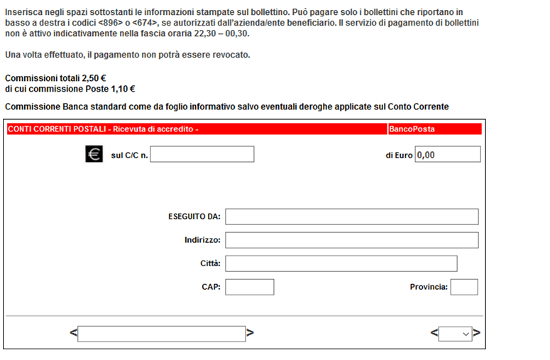 Bollettino postale online pagare bollettino online con for Indirizzo postale