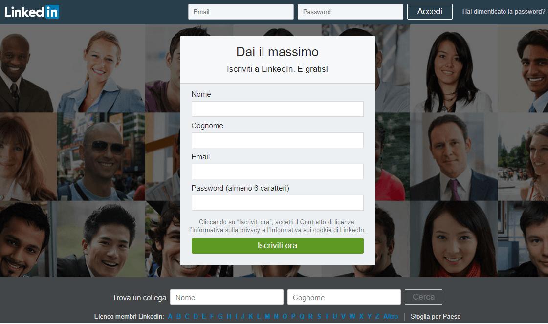 schermata di login di linkedin versione desktop