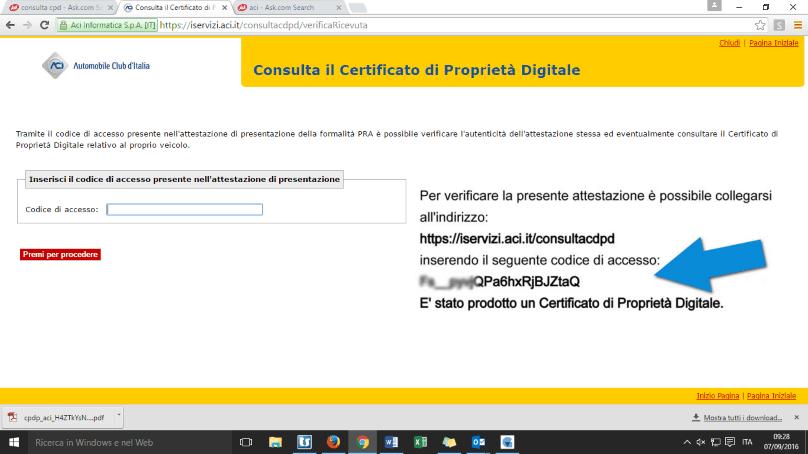 certificato di proprieta' auto come accedere online