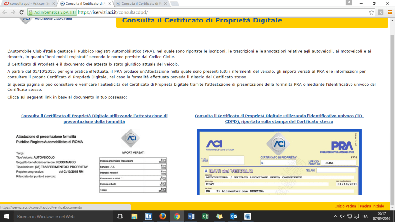 certificato di proprieta' auto digitale